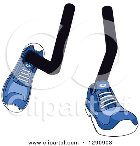 Clipart of a Pair of Walking Legs Wearing Blue Tennis Shoes 2 - Royalty Free Vector Illustration by Vector Tradition SM
