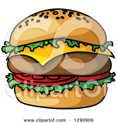 Clipart of a Big Cheeseburger - Royalty Free Vector Illustration by Vector Tradition SM