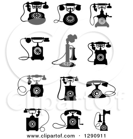 Clipart of Retro Black and White Desk Telephones - Royalty Free Vector Illustration by Vector Tradition SM