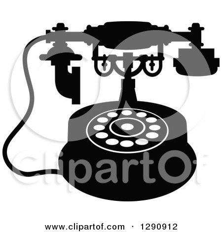 Clipart of a Retro Black and White Desk Telephone 8 - Royalty Free Vector Illustration by Vector Tradition SM