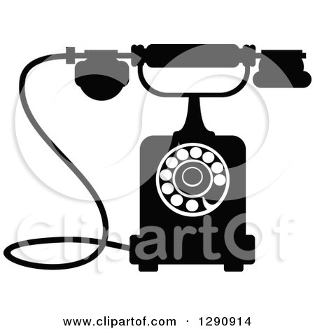 Clipart of a Retro Black and White Desk Telephone 10 - Royalty Free Vector Illustration by Vector Tradition SM