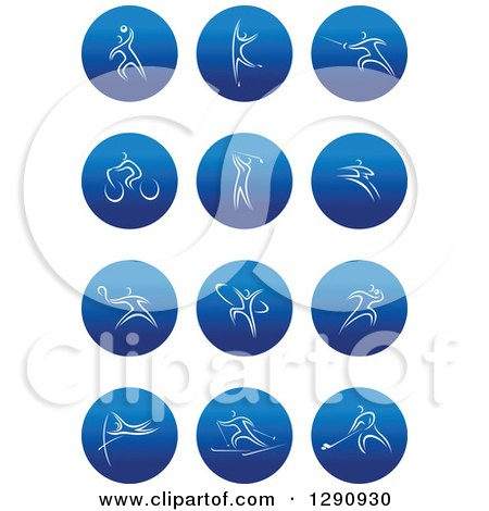 Clipart of White Athlete in Round Blue Icons 2 - Royalty Free Vector Illustration by Vector Tradition SM
