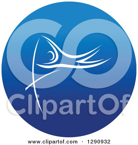 Clipart of a White Track and Field Pole Vault Athlete in a Round Blue Icon - Royalty Free Vector Illustration by Vector Tradition SM