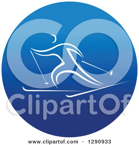Clipart of a White Athlete Skiing in a Round Blue Icon - Royalty Free Vector Illustration by Vector Tradition SM