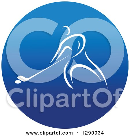Clipart of a White Athlete Playing Hockey in a Round Blue Icon - Royalty Free Vector Illustration by Vector Tradition SM