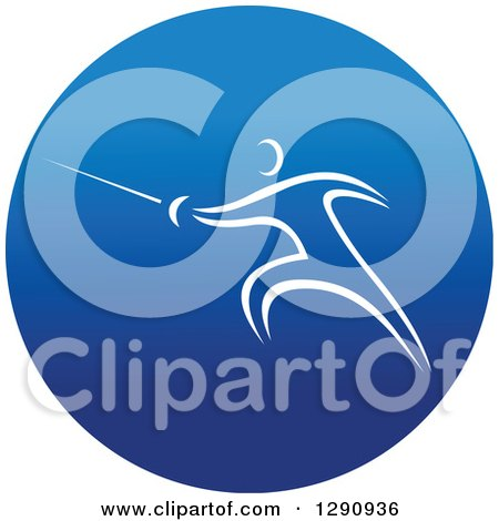 Clipart of a White Athlete Fencing in a Round Blue Icon - Royalty Free Vector Illustration by Vector Tradition SM