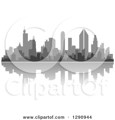 Clipart of a Multi Toned Gray Silhouetted City Skyline and Reflection - Royalty Free Vector Illustration by Vector Tradition SM