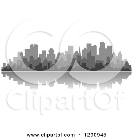 Clipart of a Multi Toned Gray Silhouetted City Skyline and Reflection 2 - Royalty Free Vector Illustration by Vector Tradition SM