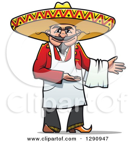 Clipart of a Welcoming Male Mexican Chef - Royalty Free Vector Illustration by Vector Tradition SM