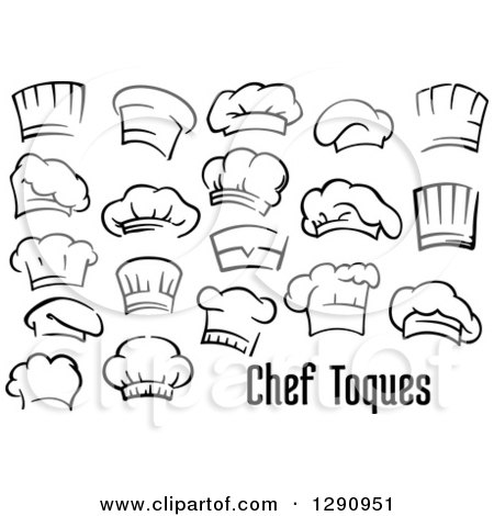 clipart of black and white chefs toque hats and text royalty free vector illustration by. Black Bedroom Furniture Sets. Home Design Ideas