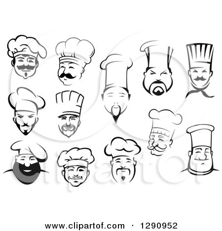 Clipart of Black and White Male Chef Faces 2 - Royalty Free Vector Illustration by Vector Tradition SM