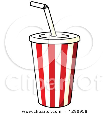 Clipart of a Striped Fountain Soda Cup - Royalty Free Vector ...