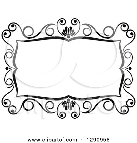 Clipart of a Black and White Ornate Rectangle Swirl Frame 4 - Royalty Free Vector Illustration by Vector Tradition SM