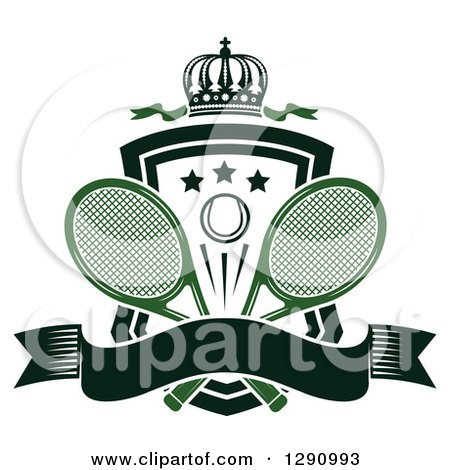 Clipart of a Crown over a Shield with Stars, a Tennis Ball, Rackets and a Blank Banner - Royalty Free Vector Illustration by Vector Tradition SM