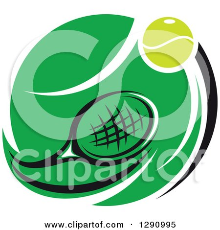 Clipart of a Green White and Black Tennis Ball and Racket Logo - Royalty Free Vector Illustration by Vector Tradition SM