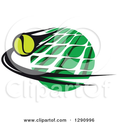 Clipart of a Green White and Black Tennis Ball and Net Logo 2 - Royalty Free Vector Illustration by Vector Tradition SM