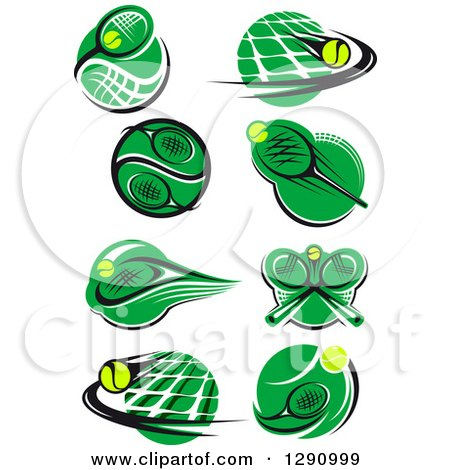 Clipart of Green White and Black Tennis Ball, Racket and Net Logos - Royalty Free Vector Illustration by Vector Tradition SM