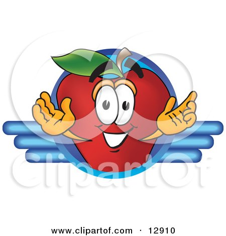 Clipart Illustration of a Red Apple Character Mascot Logo by Toons4Biz