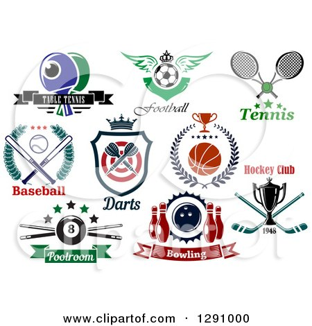 Clipart of Sports Designs with Equipment and Text - Royalty Free Vector Illustration by Vector Tradition SM