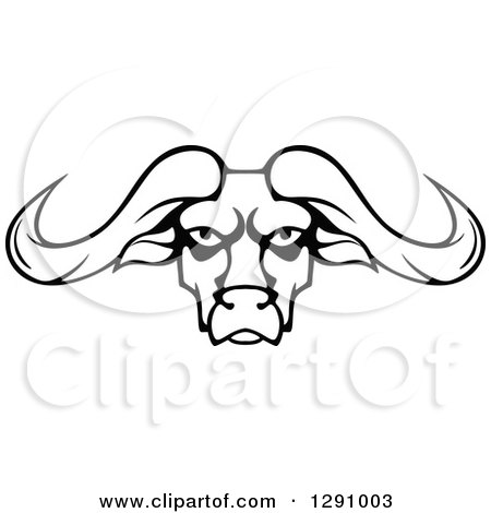 Clipart of a Black and White Longhorn Bull Face - Royalty Free Vector Illustration by Vector Tradition SM
