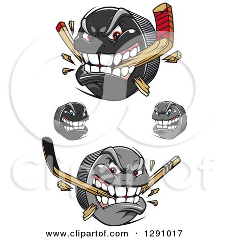 Clipart of Aggressive Hockey Puck Characters, Some Biting Sticks - Royalty Free Vector Illustration by Vector Tradition SM