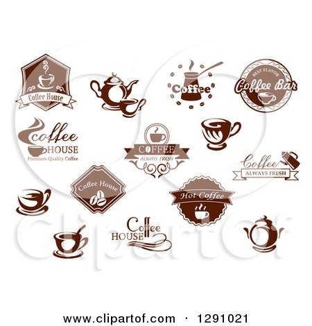 Clipart of Brown and White Coffee House and Bar Designs - Royalty Free Vector Illustration by Vector Tradition SM