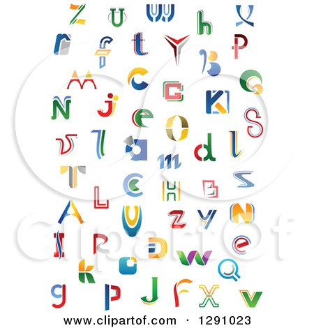 Clipart of Colorful Abstract Alphabet Letters 4 - Royalty Free Vector Illustration by Vector Tradition SM