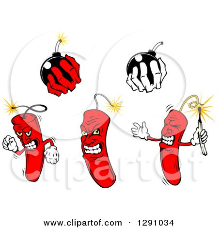 Clipart of Dynamite Stick Characters and Hands Holding Bombs - Royalty Free Vector Illustration by Vector Tradition SM