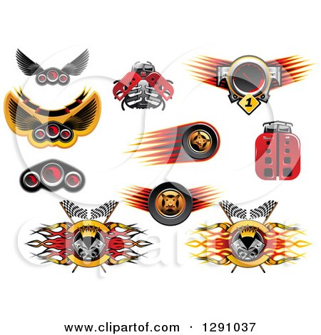 Clipart of Racing and Automotive Speedometers, Robot Ladybugs, Tires and Pistons - Royalty Free Vector Illustration by Vector Tradition SM