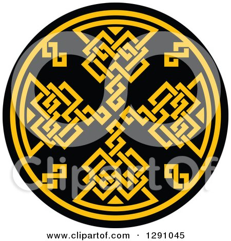 Clipart of a Round Yellow and Black Celtic Medallian Design 4 - Royalty Free Vector Illustration by Vector Tradition SM
