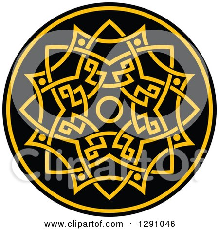 Clipart of a Round Yellow and Black Celtic Medallian Design 5 - Royalty Free Vector Illustration by Vector Tradition SM