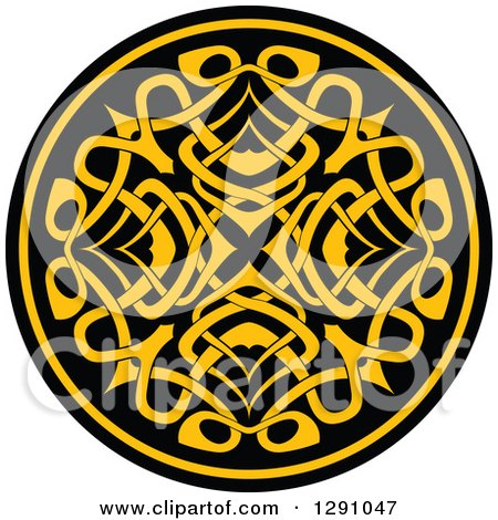 Clipart of a Round Yellow and Black Celtic Medallian Design 6 - Royalty Free Vector Illustration by Vector Tradition SM