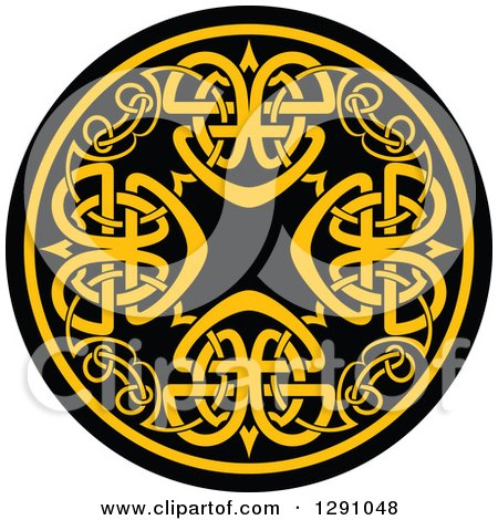Clipart of a Round Yellow and Black Celtic Medallian Design 7 - Royalty Free Vector Illustration by Vector Tradition SM