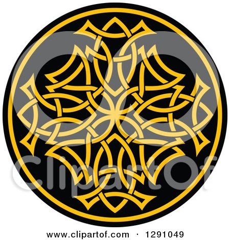 Clipart of a Round Yellow and Black Celtic Medallian Design 8 - Royalty Free Vector Illustration by Vector Tradition SM