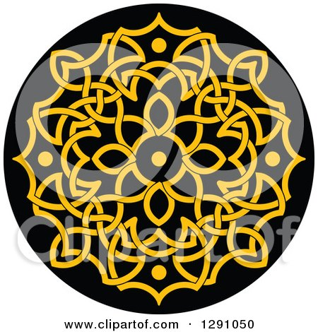 Clipart of a Round Yellow and Black Celtic Medallian Design 2 - Royalty Free Vector Illustration by Vector Tradition SM