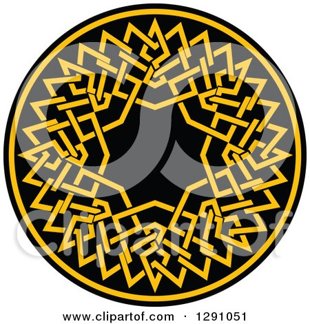 Clipart of a Round Yellow and Black Celtic Medallian Design - Royalty Free Vector Illustration by Vector Tradition SM