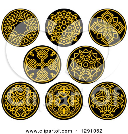 Clipart of Round Yellow and Black Celtic Medallian Designs - Royalty Free Vector Illustration by Vector Tradition SM