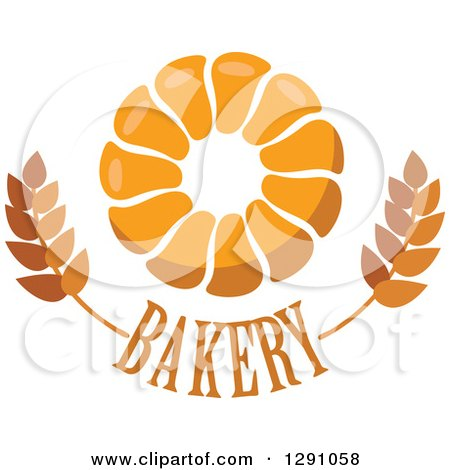 Clipart of a Pull Apart, Croissant, or Monkey Bread Ring over Bakery Text and Wheat - Royalty Free Vector Illustration by Vector Tradition SM