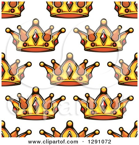 Clipart of a Seamless Patterned Background of Ornate Gold Crowns on White 2 - Royalty Free Vector Illustration by Vector Tradition SM