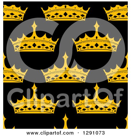 Clipart of a Seamless Patterned Background of Gold Crowns on Black - Royalty Free Vector Illustration by Vector Tradition SM