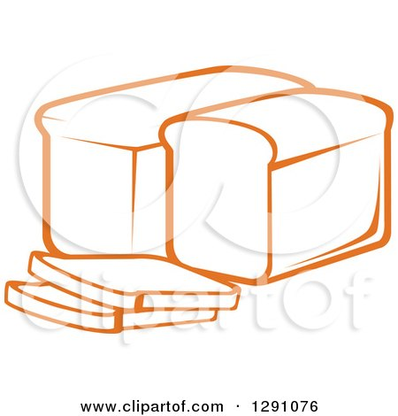 Clipart of a Sketch of Orange Loaves and Slices of Bread - Royalty Free Vector Illustration by Vector Tradition SM