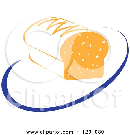 Clipart of a Nutrition Logo of a Bread Loaf and a Blue Swoosh or Abstract Plate - Royalty Free Vector Illustration by Vector Tradition SM