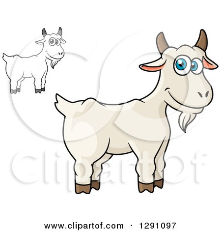 Clipart of Cartoon Happy White and Grayscale Goats - Royalty Free Vector Illustration by Vector Tradition SM