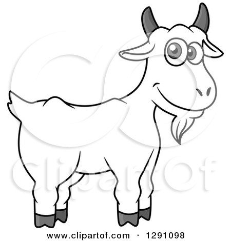 Clipart of a Cartoon Happy Grayscale Goat - Royalty Free Vector Illustration by Vector Tradition SM