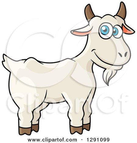 Clipart of a Cartoon Happy White Goat with Blue Eyes - Royalty Free Vector Illustration by Vector Tradition SM