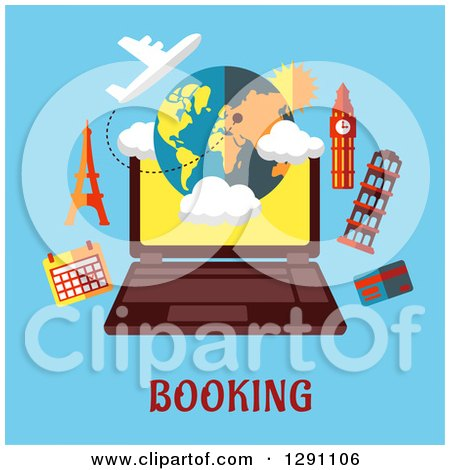 Clipart of a Laptop and Travel Landmarks over Booking Text on Blue - Royalty Free Vector Illustration by Vector Tradition SM