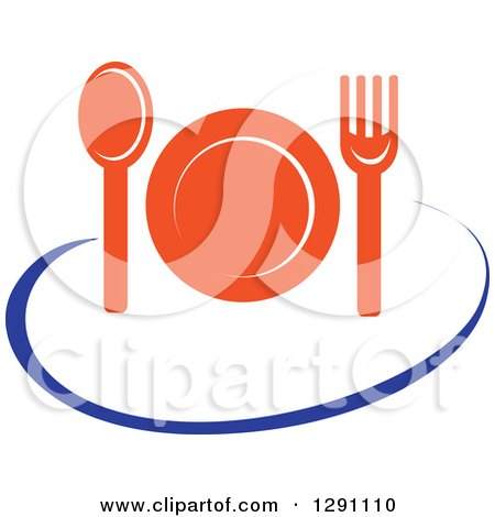 Clipart of a Nutrition Logo of an Orange Plate, Cutlery and a Blue Swoosh - Royalty Free Vector Illustration by Vector Tradition SM