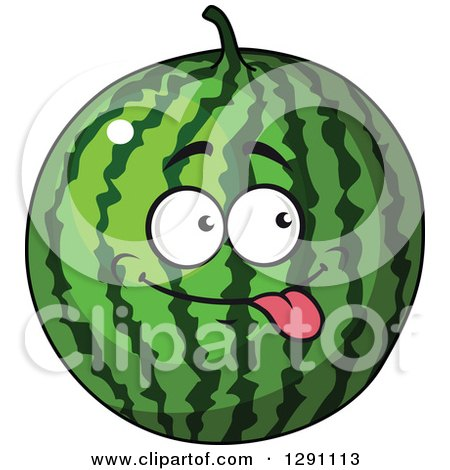 Clipart of a Goofy Watermelon Character Sticking His Tongue out - Royalty Free Vector Illustration by Vector Tradition SM
