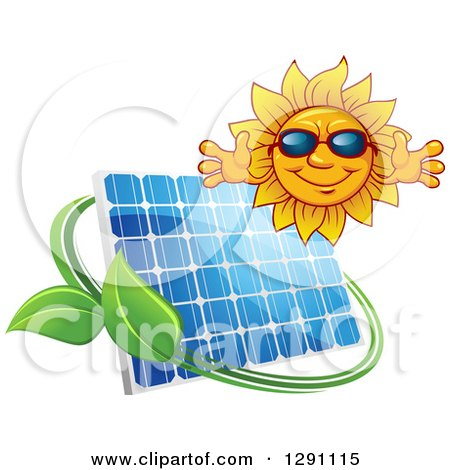 Clipart of a Welcoming Happy Sun Wearing Shades over a Solar Panel Encircled with a Swoosh and Green Leaves - Royalty Free Vector Illustration by Vector Tradition SM