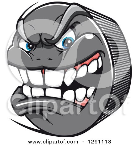 Clipart of a Mad Aggressive Gray Hockey Puck Character - Royalty Free Vector Illustration by Vector Tradition SM